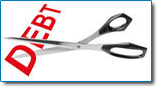 A Chapter 13 bankruptcy may allow you to reduce your debt and pay what remains over an extended period of time. Image of the word debt being cut with a pair of scissors.