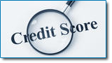 FICO credit score can be affected by a bankruptcy filing. Image of amagnafing glass over the words credit score.