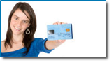 After bankruptcy a fresh start on your finances can put you right. Image of smiling woman holding a new credit card.