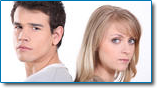 Spouses filing bankruptcy separately may be appropriate. Image of a young couple back to back.